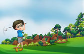 A boy playing golf at the forest — Stock Vector