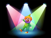 A clown under the spotlights — Stock Vector