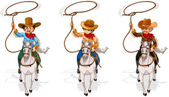 Two old and one young cowboys — Stock Vector