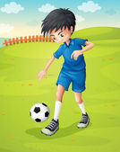 A boy with a blue uniform practicing at the hillside — Stock Vector