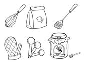 A doodle set of kitchen utensils, baking powder and honey jam — Stock Vector