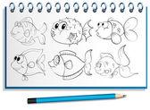 Ein Notebook mit einem Doodle-Design auf dem Deckblatt — Stockvektor