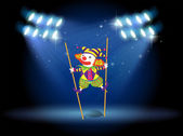 A clown doing a trick at the stage — Stock Vector