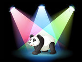 A stage with a giant panda — Stock Vector
