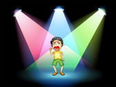 A boy crying at the stage — Stock Vector