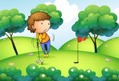A woman playing golf at the top of the hill — Stock Vector