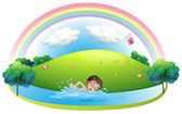 A boy swimming in the river near the hill — Stock Vector