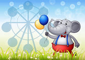 An elephant with balloons in front of the ferris wheel — Stock Vector