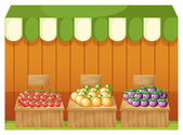 Three fruitstands with empty boards — Stock Vector