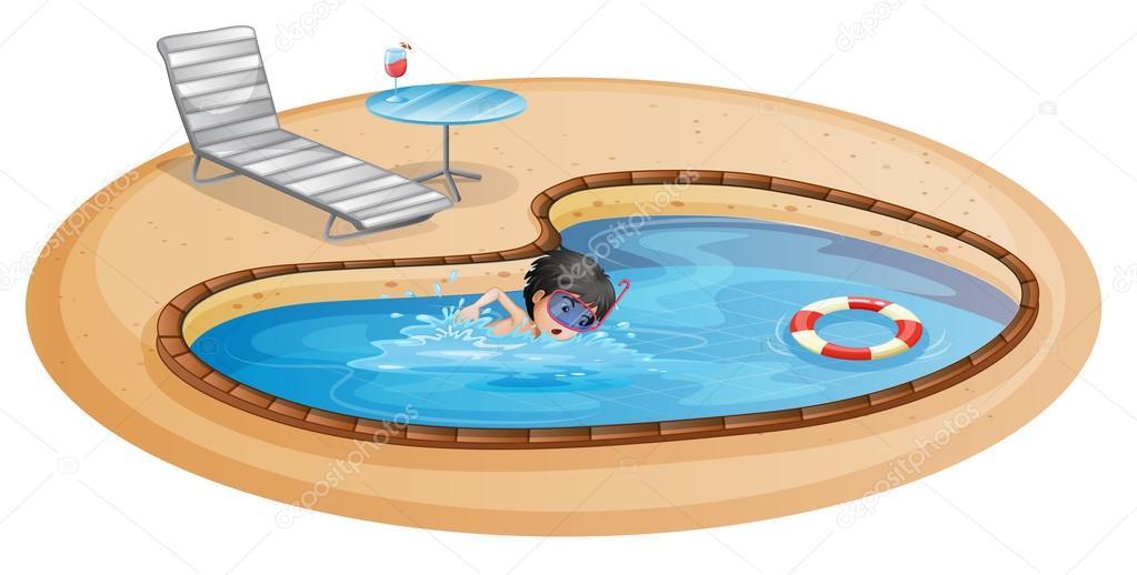 Un ni o nadando en la piscina con una silla de playa y for Sillas para jugar a la play
