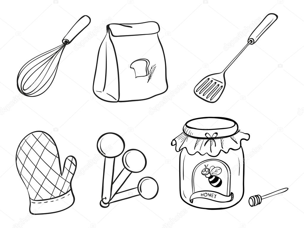 Kitchen Utensils Drawings Set of Kitchen Utensils