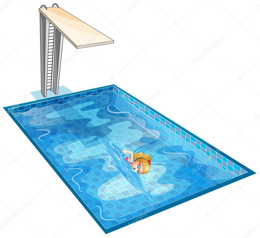 ein m dchen das schwimmen im pool mit ein sprungbrett. Black Bedroom Furniture Sets. Home Design Ideas