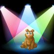 A bear sitting at the center of the stage with spotlights — Stock Vector