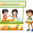 Vector de stock : Three kids selling refreshing drinks