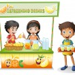 Stock Vector: Three kids selling refreshing drinks