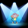 A happy monkey at the center of the stage — Stock Vector #25655023