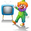 A clown standing in front of a television  — Stock Vector