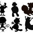 Silhouette forms of animals - Stock Vector
