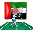 The UAE flag at the back of a tennis player - Stok Vektör
