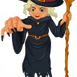 A witch holding a wooden stick - Stock Vector