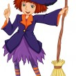 A witch holding a broom - Stock Vector