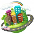 Stock Vector: Road surrounding city