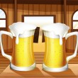 A table with two mugs of beer — Stock Vector
