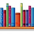 A wooden shelf with books — Stock Vector