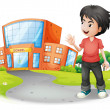 A boy standing in front of the school — Stock Vector