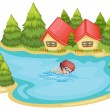 Stock Vector: A beach near the pine trees with a boy swimming