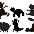 Animals in brown, black and gray colors - Stock Vector