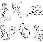 Doodle designs of different outdoor activities — Stock Vector