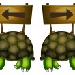 Turtles carrying wooden signboards - Stock Vector