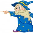 A wizard holding a magic wand — Stock Vector