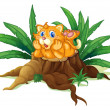 A cat above a stump with leaves - Stock Vector