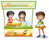 Three kids selling refreshing drinks — Stock Vector