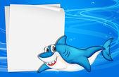 An empty paper under the sea beside a shark — Stock Vector