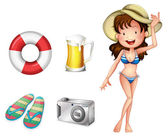 A lifebuoy, pair of slippers, mug of beer, camera and a lady — Stock Vector