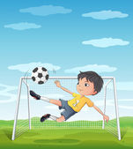 A young athlete kicking the soccer ball — Stock Vector