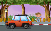 A boy with his tools near the orange vehicle — Stock Vector