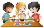 Three kids at the table with cupcakes — Stock Vector