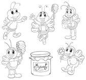 Doodle design včel — Stock vektor