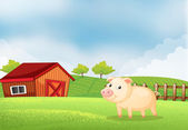 A pig in the farm with a wooden house at the back — Stock Vector