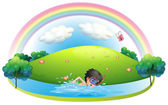 A boy swimming at the beach near the hill — Stock Vector