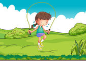 A girl playing jumping rope at the top of the hill — Stock Vector