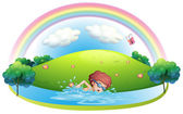A young man swimming near the hill with a rainbow — Stock Vector