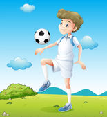 A boy playing soccer during daytime — Stock Vector