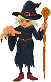 A witch holding a wooden stick — Stock Vector