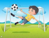 A young gentleman kicking a soccer ball — Stock Vector
