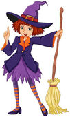 A witch holding a broom — Stock Vector